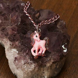 *3 for $25* Sparkly cute pink pony necklace